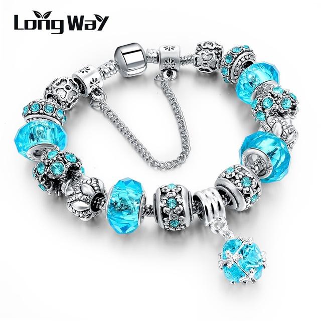 Европейский стиль аутентичные тибетский серебряный голубой кристалл браслеты для ...