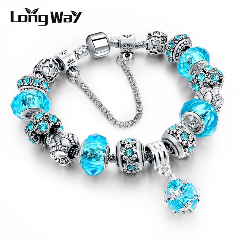 LongWay European Style Authentic Tibetan Silver Blue Crystal Charm Bracelets for Women Original DIY Beads Jewelry Gift SBR150292(China (Mainland))