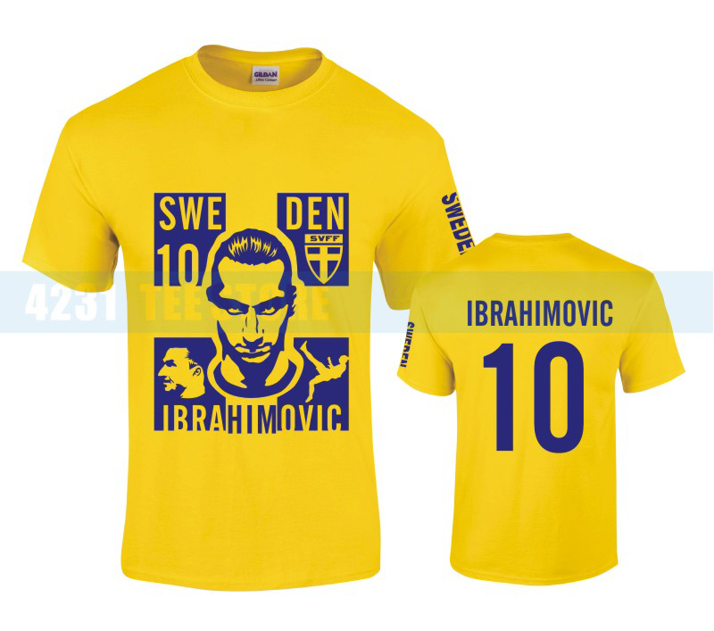 Sweden National Team Zlatan Ibrahimovic Fans T-shirt SWE 10 Pure Cotton Short-sleeve Euro2016 Football Yellow Tees Free shipping(China (Mainland))