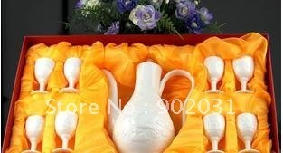 Free Shipping --jingdezhen ceramic decanters white jade dragon tall foot cup suit