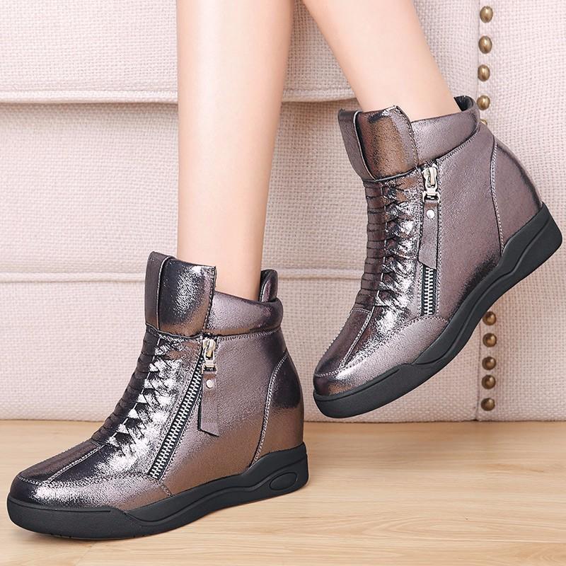 ซื้อ รองเท้าผู้หญิงMOOLECOLEผู้หญิงรองเท้าลำลองหนังPUผู้หญิงระบายอากาศความสูงที่เพิ่มขึ้นรองเท้า6d658-3