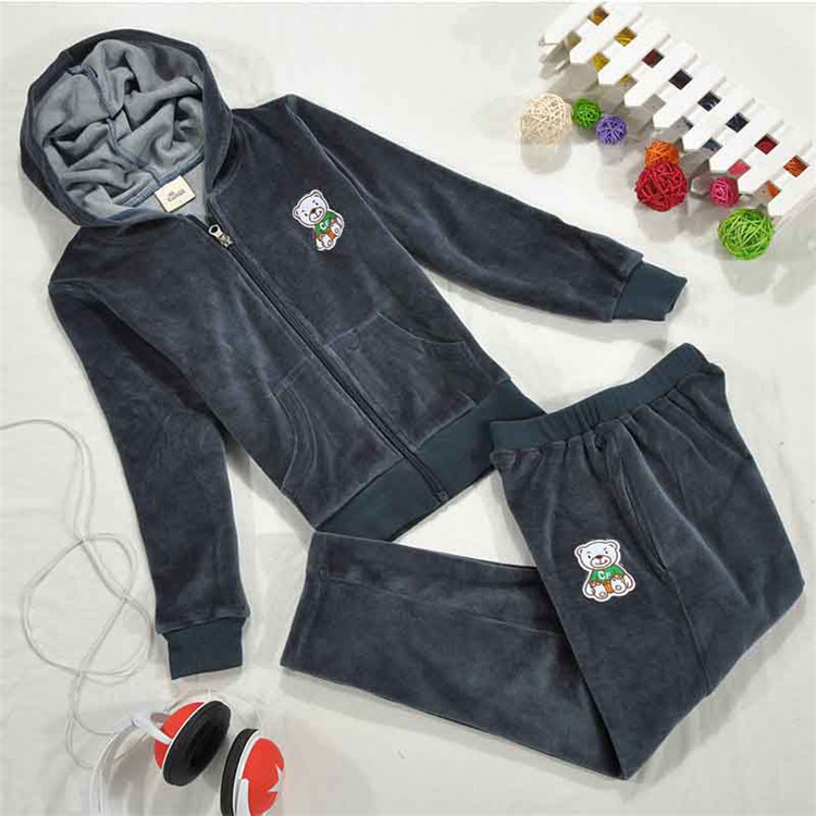 Free Shipping Boy's Winter Clothing Suit Velvet Cartoon Print Hooded Coat+ Casual Trousers A3081(China (Mainland))