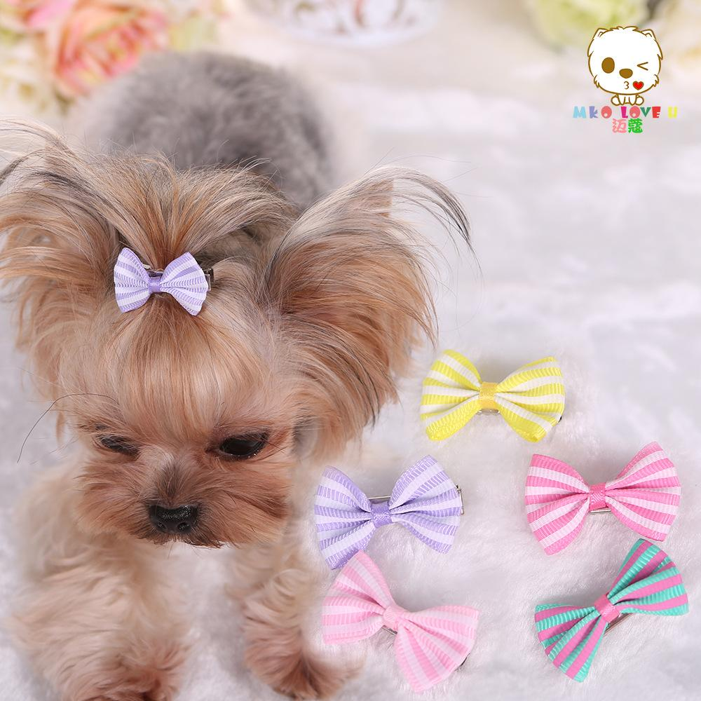 10 piece/Lot 2016 Newest Dog Accessories Streak printing Dog Bows Puppy Ribbon hairpin Dogs Hair Accessories Pet Supplies PY360(China (Mainland))