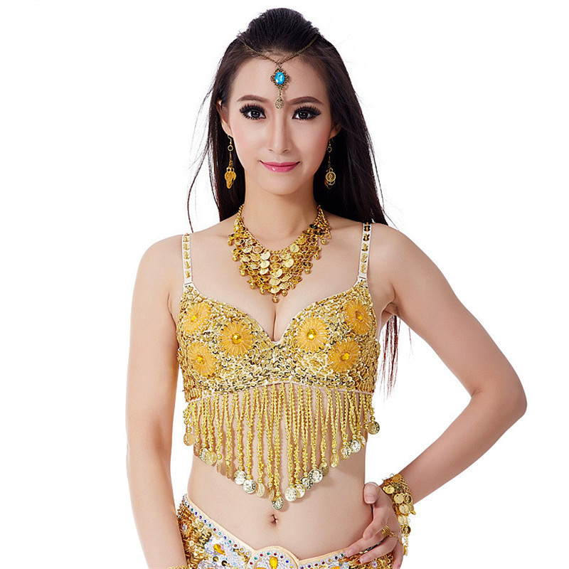 Seawhisper Belly Dance Bra Top Wear With Sequin/ Flower/ Tassels/ Coins Decors 6 Flowers Belly Dance Bra For Performance(China (Mainland))
