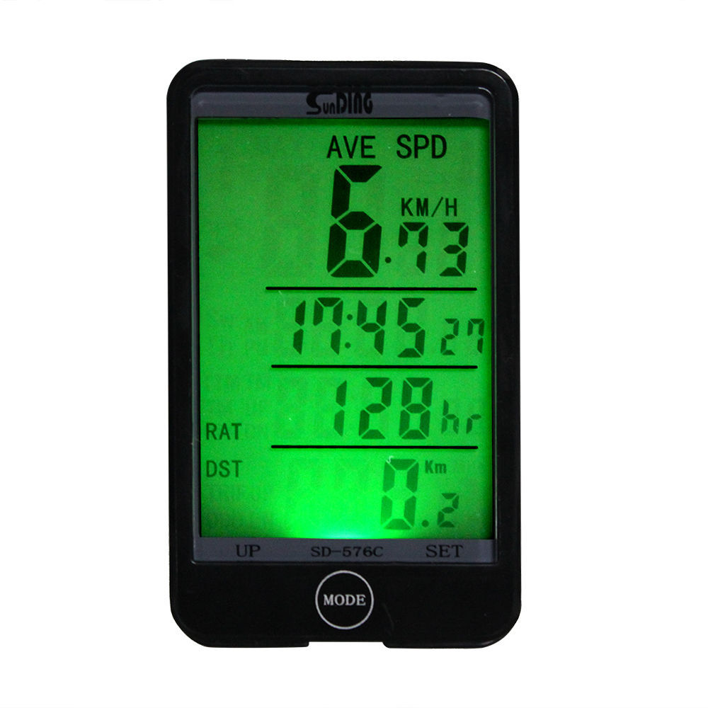 Waterproof Wireless Bicycle Computer Multifunction Large screen Backlight Bike Odometer Speedometer Bike Stopwatch with battery