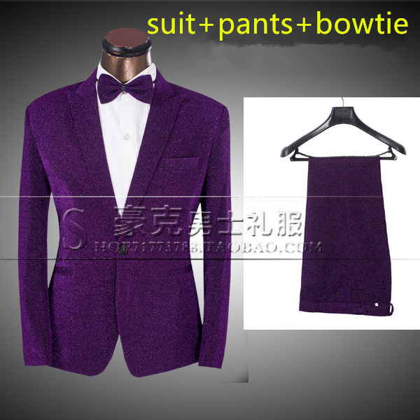 Fashion Purple Color Men's Slim Suit The groom wedding dress male formal dress set stage show singer dance performance costumes(China (Mainland))