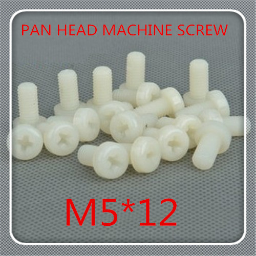 500pcs/lot High Quality M5*12 Nylon Plastic Phillips Cross Recessed Round Pan Head Machine Screw<br><br>Aliexpress