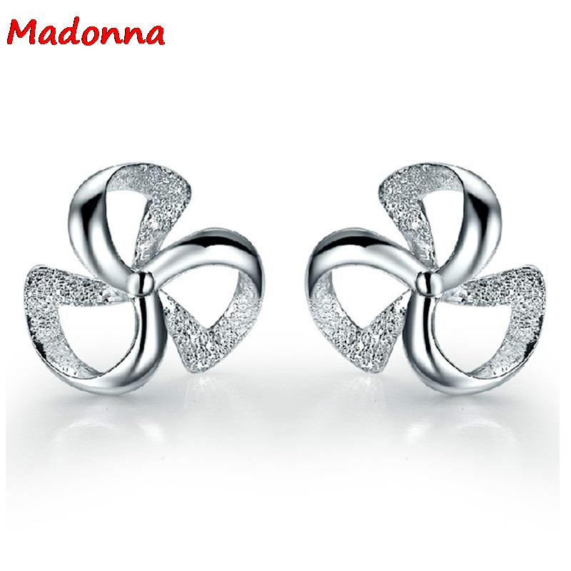 New Fashion Korean Lucky Clover Triangle Sector Design Silver plated stud Earrings Women ear Jewelry Wholesale(China (Mainland))