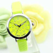 2015 Mini Word Quartz DIY 3D Green Flower Crystal Polymer Clay Watches Women Girl Dress Wristwatch