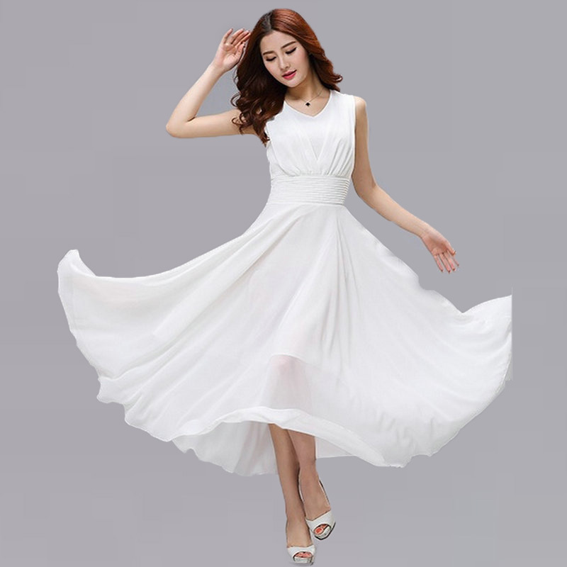 Summer Solid White Swing Maxi Dresses Classy Chiffon Bohemian Long Dress Peacock Blue Classy One Piece Pretty Dating Clothes(China (Mainland))