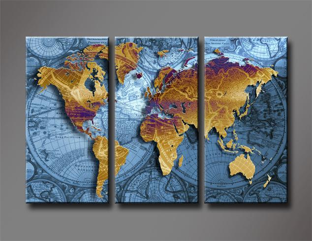 Large World Map Art Wall Art Golden World Map