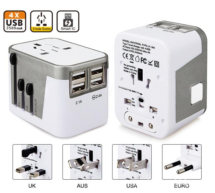 4 USB Port All in One Universal International Plug Adapter World Travel AC Power Charger Adaptor with AU US UK EU Plug(China (Mainland))