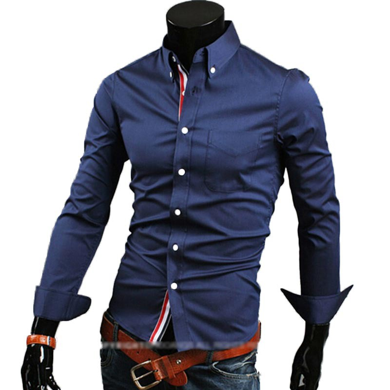 cheap shipping hot new fashion business casual slim fit length-sleeved shirts men's dress shirts leisure brand 5 colors 5 sizes(China (Mainland))
