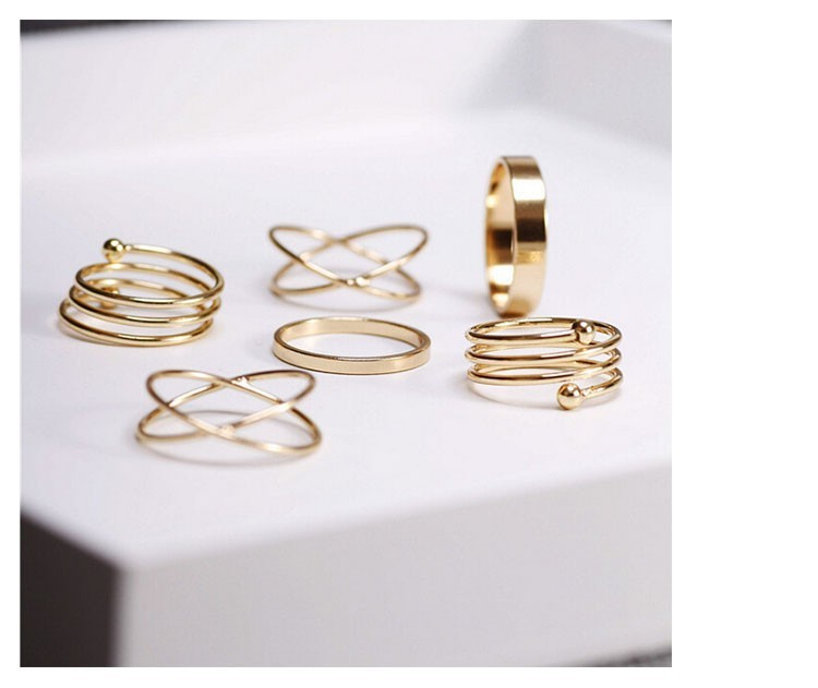 Hot Unique Ring Set  Punk Золото Plated Knuckle Rings for Женщины Finger Ring 6 PCS Ring Set Best Selling 2015 M12