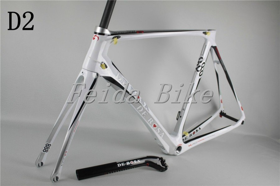 2015 Newest carbon frame De Rosa D2 white bike frame size 48 / 50 / 52 / 54 / 56 cm carbon road bike frame China cheap on sales(China (Mainland))