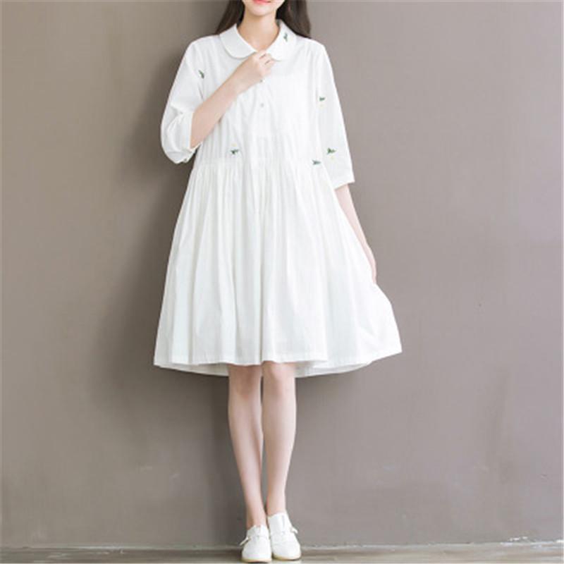 Summer Dress font b 2016 b font Women Casual Mori Girl Peter Pan Collar White Embrodiery