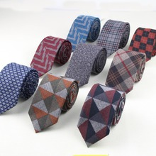 Soft Mens Fashion Diamond Check Artificial Wool Cotton Striped Skinny Ties Men business Small Ties Designer Cravat Dark Color(China (Mainland))