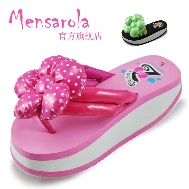candy rollaround weight loss herringbone slippers female flower platform slip-resistant beach platform(China (Mainland))