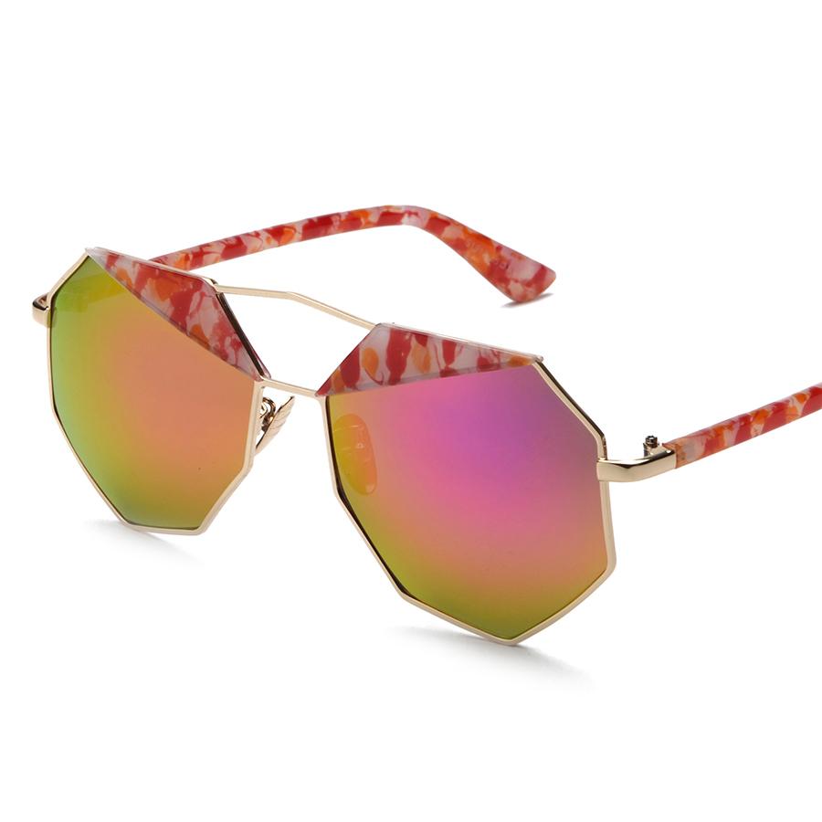 New Fashion Personality Polygon Sunglasses Women Luxury Brand Designer Coating Mirror Reflective Sunglasses Men With Metal Frame(China (Mainland))