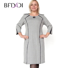 BFDADI Большой размер XL-6XL модное черные и белые переплетения с о-образным шею прямо платье осень зимные простой стиль дизайн платья 7 - 3509(China (Mainland))