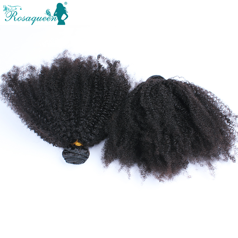 Brazilian Kinky Curly Hair Unprocessed Virgin Human Hair Weave 2Pcs/lot Afro Kinky Curly Hair Natural Black Rose Hair Products(China (Mainland))
