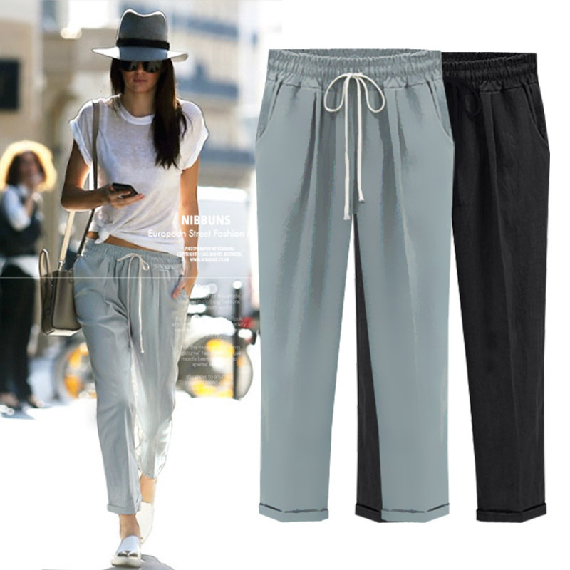 2015 summer plus size womens pants ladies loose casual linen pants ...