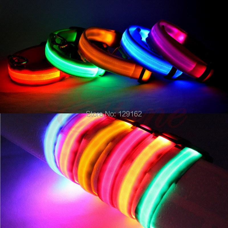 Adjustable Pet Dog Flashing LED Lights Safety Nylon Night Glow Dog Collars Leads(China (Mainland))