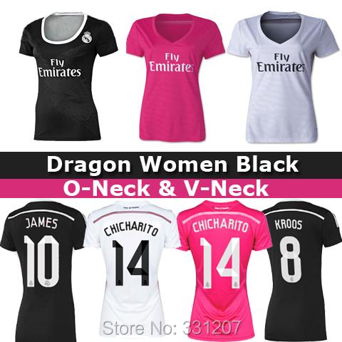 2015 Real Madrid Women PINK Soccer Jersey 14 15 KROOS RONALDO BALE JAMES Real Madrid Women Black Female football shirts 2015(China (Mainland))