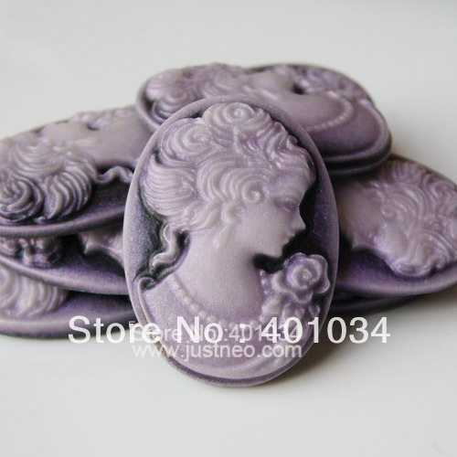 18*25mm purple vintage resin lady cameo, flat back loose beads cabochon for making earrings,rings and iphone decoration50pcs/lot(China (Mainland))