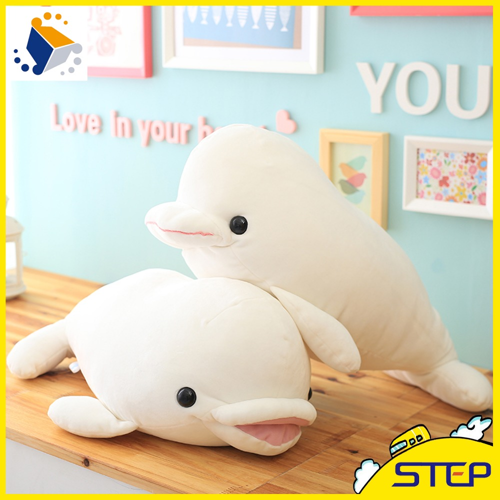 2016 Free Shipping 1pcs Super Soft 55cm White Dolphin Plush Animal Toy Stuffed Dolphin Doll Kids Gifts ST523(China (Mainland))