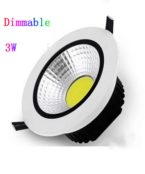 30pcs/lot Dimmable Led Downlight COB Ceiling Spot Light 3w ceiling recessed Lights Warm White Cool White Daylight(China (Mainland))