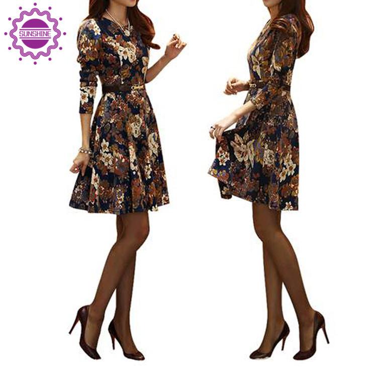 2015 Women Elegant Flower Print Dress With Belt Long Sleeve Plus Size Office Dress Casual Spring Autumn Lady Vestidos(China (Mainland))