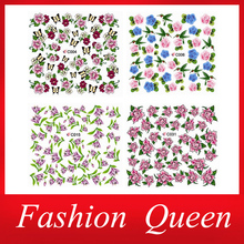 Sexy Flowers Water Tranfer Nail Sticker,4Designs(20sheets/lot) DIY Beauty Nail Art Decorations Decals Accessories,Free Shipping