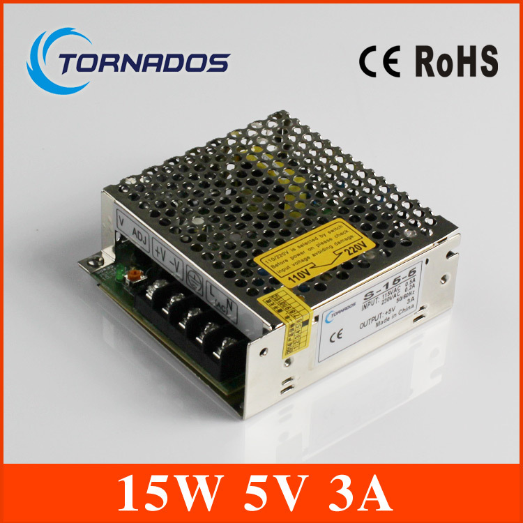LED switching power supply 15W AC to DC 5V 220V the maximum current 3A model S-15-5 free shipping(China (Mainland))