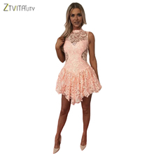 Buy ZTVitality Hot Sale 2017 Red Sleeveless Hollow Fashion Women Dress Sexy Slim Elegant Party Dresses Summer Lace Vestidos for $23.86 in AliExpress store