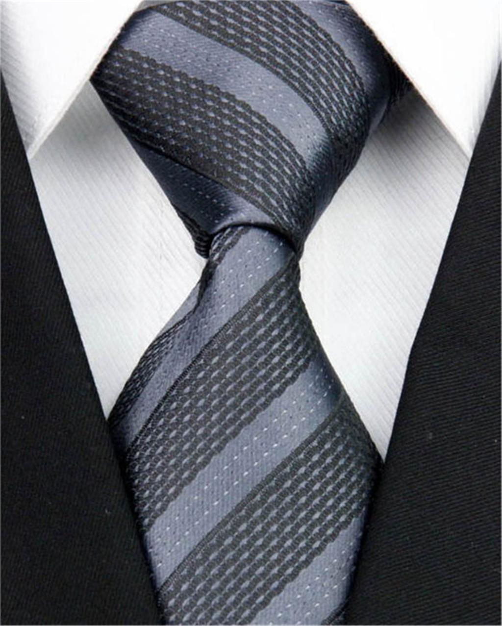 "New Classic Jacquard Woven Tie Men Black Gray Striped Silk Necktie Formal Business Suit Ties Nt0107 (4""/10cm)(China (Mainland))"