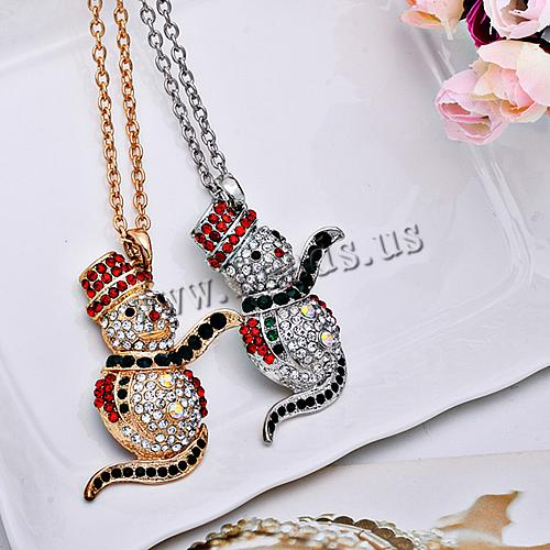 christmas gift!!!luxury Zinc Alloy with iron chain Snowman plated plating christmas Necklaces<br><br>Aliexpress