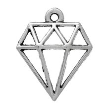 "DoreenBeads Zinc metal alloy Charm Pendants faceted Shape Antique Silver Hollow 19.0mm( 6/8"") x 16.0mm( 5/8""), 4 PCs 2015 new(China (Mainland))"
