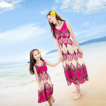 2016 summer beach dress family matching mother daughter dresses clothes girls women maxi dress bohemian mom and daughter dress