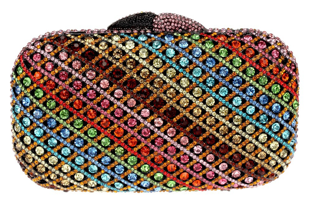 New rainbow colorful crystal clutches Luxury Diamond Evening Bags for party clutch purse Clutch Shoulder Metal Purse chain(China (Mainland))