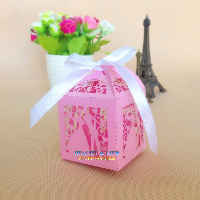 2015 50 pcs/lot Pink Laser Cut Bridegroom bride Pearlescent Paper box,wedding candy favors gifts - Health & Life store