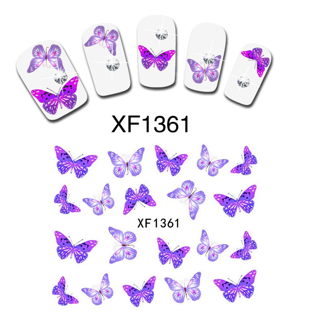 Fantastic Purple Butterfly Nail Art Nail Manicure Decals Transfer Stickers Decor Manicure 1 Sheet XF1361(China (Mainland))