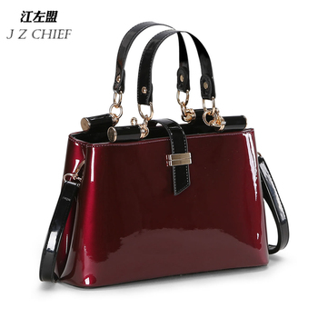 High quality Aristocratic women messenger bags shiny patent leather shoulder bag fashion wedding party bag bolsos