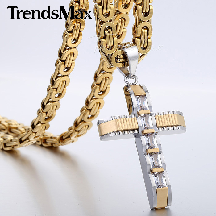 Mens Chain Boys Carved Gold Silver Tone Stainless Steel Cross Pendant Necklace w Clear Rightstones Fashion Jewelry KP354 - Trendsmax Flagship Store store