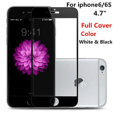 New ! 9H Full Cover Color White Black Tempered Glass For Apple iphone 6 6S 4.7 inch Screen Protector Toughened Protective Film