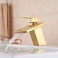 Luxury Wide Square Waterfall Spout Basin Sink Faucet Deck Mount One Hole Mixer Taps Golden Faucet