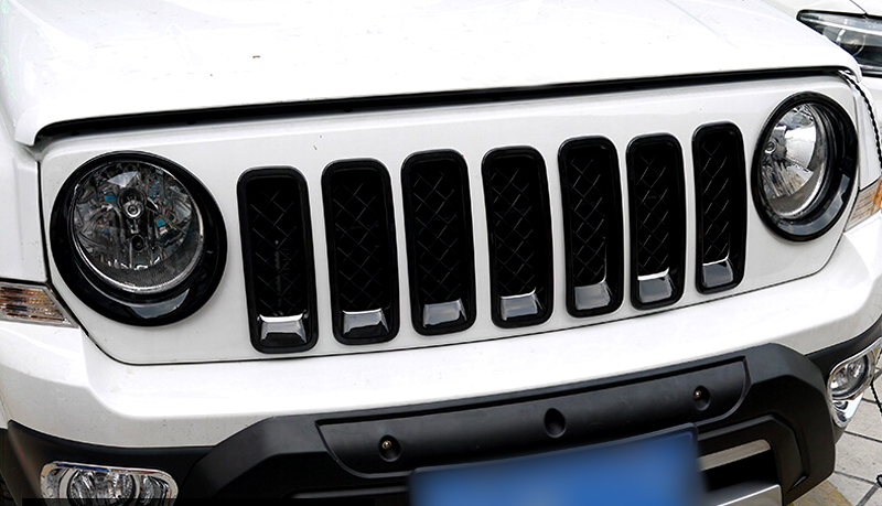 Фотография For JEEP Patriot 2011 - 2015 Abs Exterior Black Front Center Grille Grill FrameTrims 7pcs