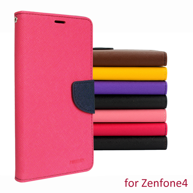 Case Asus ZenFone 4 flip leather cover ZenFone4 phone cases double color design wallet mobile covers  -  peasecod accessories store