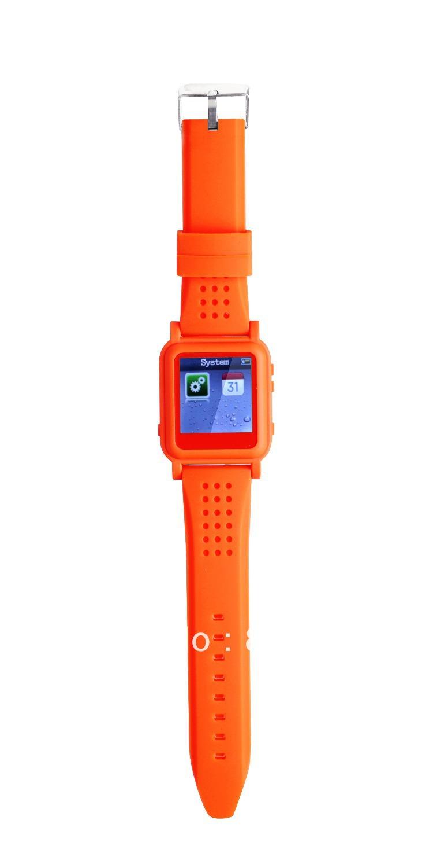 Free shipping wholesale 6pcs/lot orange 8GB fashion mp4 watch(China (Mainland))