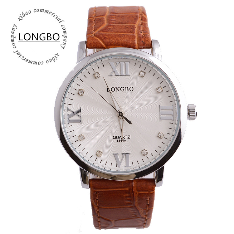 Mens Business Genuine Leather Wristband Watch New Round Quartz Watches Brown Waterproof Wrist Watch 7 Can Customize LOGO<br><br>Aliexpress